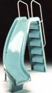 Zakrivljeni tobogan, H=180 cm, fiberglas I nerđajući čelik - desno