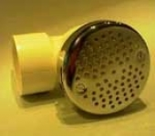 Usisni fiting ATENA. telo-PVC, ugled- mesing. konekcija -d=50. boja - HROM